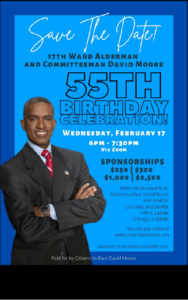 Image of David Moore standing in front of a blue background with 55th Birthday Celebration written in Bold black letters.